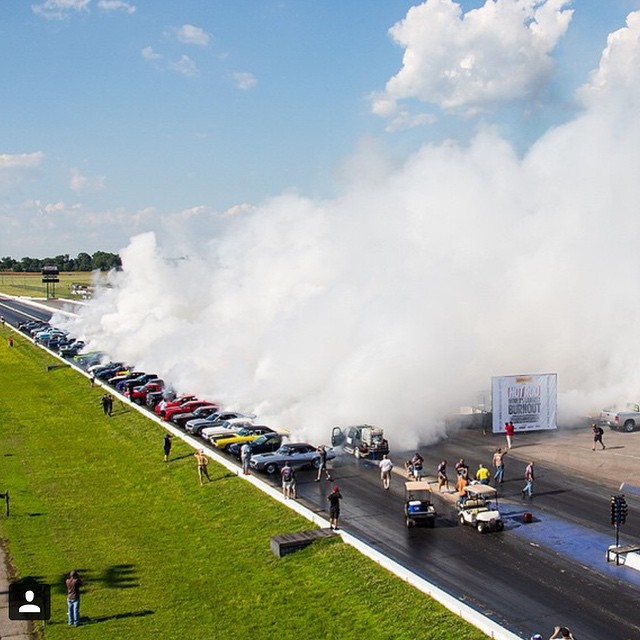 This is what a world record burnout looks like...unofficially. Earlier this week Hoonigan joined forces with @hotrodmagazine to take back the record for the most cars doing a burnout at one time. We are still waiting on Guinness Book's official seal on...
