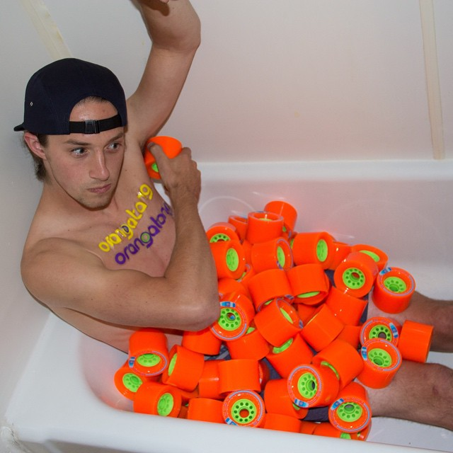 Ready for race season? @averywilcox is. He has been doing his #Kegel exercises in the tub every night. #OrangatangWheels