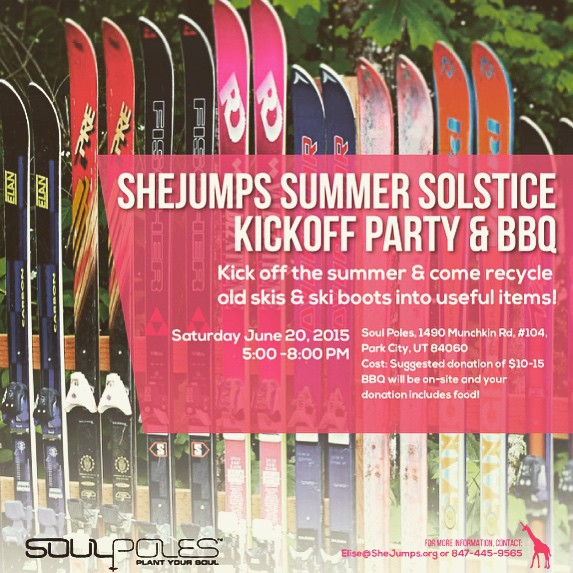 On Saturday, June 20th, the ladies at SheJumps will be taking over the Soul shop and we'd love to have you stop by! Come build wine racks, coat hangers, and flower planters using recycled skis and boots, have some food and drinks, and meet a lot great...