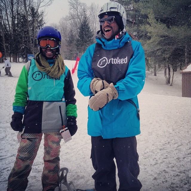 Coach Barry never misses a chance to look fresh, even on the slopes. Christine, a senior in the  STOKED program rocked the slopes today! #StokedOnSnowboarding #StokedNeverStops