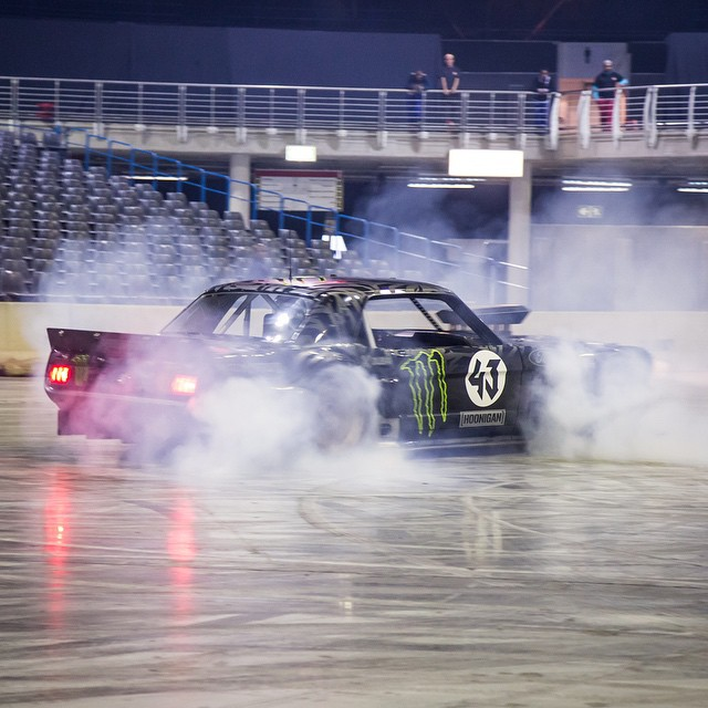 HHIC @kblock43 practicing to kill some tires in the #hoonicorn RTR for the Clarkson Hammond and May Live show in South Africa! #killalltires