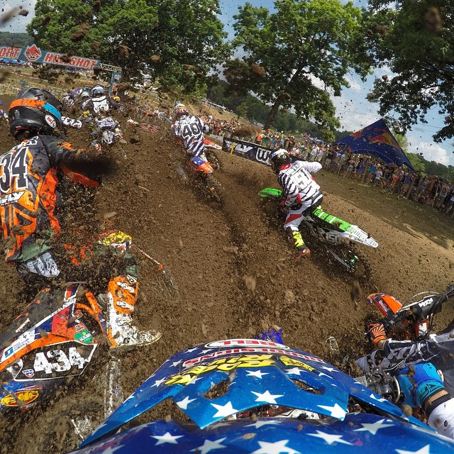 Photo of the Day! @LukeRenzland43 charges through the pack at Muddy Creek Tennessee. Submit your best racing photos to be featured by clicking the link in our profile. #GoPro #GoProMoto #PhotoOfTheDay