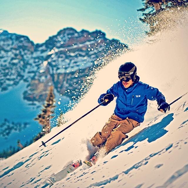 @caleb_kr making a beautiful #powder turn at @altaskiarea. He is wearing the short-cuff #Astis #Wilson gloves. Nice #mustache! @mountainhardware #ski #skiing #mountains