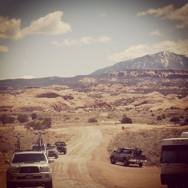 As I pack for another adventure weekend, I can't help but think back on some previous trips. #tbt of a #goodpeople caravan in #moab #mountainbiking