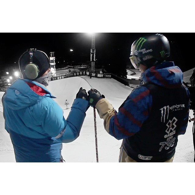 @mrdavidwise pre-drop at the X-Games. #shapingskiing