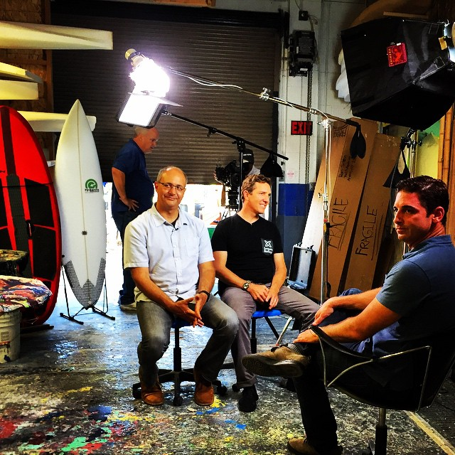 Just another LA day of lights, cameras and action at the @etechboards factory, talking about the sustainable surfing movement for the good folks at the CBS Morning Show! --- Plenty of #ECOBOARDproject coverage and Ryan and Todd even let us help glass a...