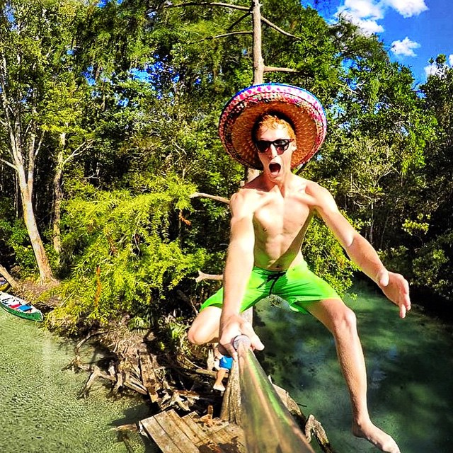 We don't always recommend jumping out of a tree, but if you do make sure you're rocking the SoCal Solo and a killer Mexican sombrero!  Kameleonz.com