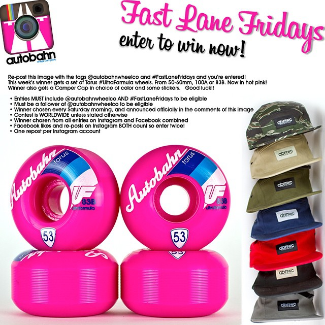 Re-post this image with the tags @autobahnwheelco and #FastLaneFridays and you're entered! This week's winner gets a set of Torus #UltraFormula wheels. From 50-60mm, 100A or 83B. Now in hot pink! Winner also gets a Camper Cap in choice of color and...