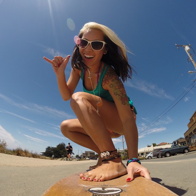 Photo of the Day! Aloha from Woody of the @BOMBTWINZ while cruisin' in Santa Cruz, California. Submit your best summer photos by clicking the link in our profile! #Cruisin #GoProGirl #Longboard #PhotoOfTheDay