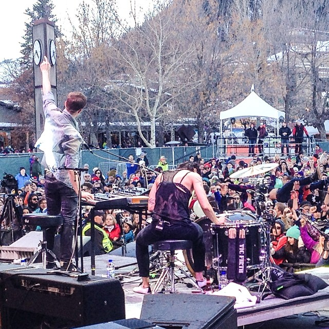 @mattandkim laying down the jams here in Aspen! @wearephoenix up next. Watch LIVE on XGames.com