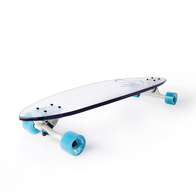 Made from bullet resistant glass, the Jelly Man O' War comes equipped with the highest quality components #jellyskateboards #jellymanowar #blockrisers #beartrucks #jellyrolls #longboard #madeinusa #recyclable