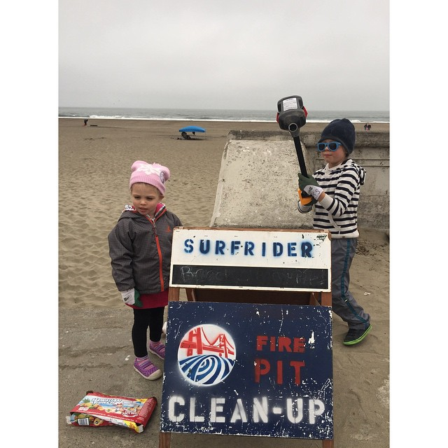 """I want to save the world for my birthday!"" said Hunter in sunglasses with his lil sister Holland. Happy Birthday Hunter from SF Surfrider"