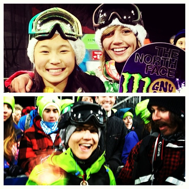 Amazing night at #xgames women's #superpipe finals watching #teamB4BC riders @kaitlynfarr and @elenahight!  Congrats on the new bling tonight @kaitlynfarr, @chloekimsnow and @kellyclarkfdn!! And @elenahight turned the whole halfpipe green with @repreve...