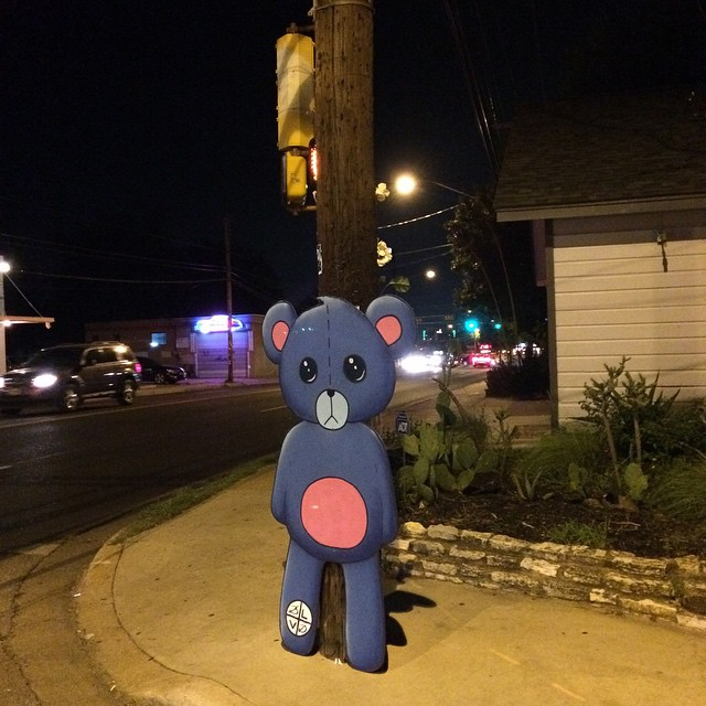 @blvdart working the street corners of #ATX • • Veddy Nice... how mu-uch • • #austintx #texas #spratx #blvd #streetart #teddybear