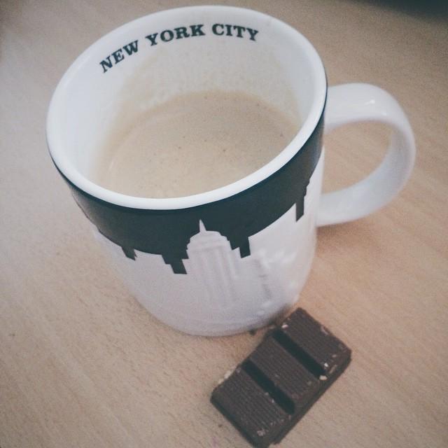 Good morning! ☕️ #chocolate #coffee #nyc #cup #mugs #peanut #ny #newyork #city #breakfast #apple #iphone #starbucks #shot #wood #fall #winter