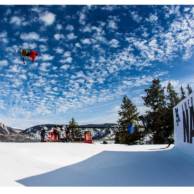 Ski Slope going down on a picture perfect Sunday here in Aspen! You watching? #xgames (Photo @espn_images )
