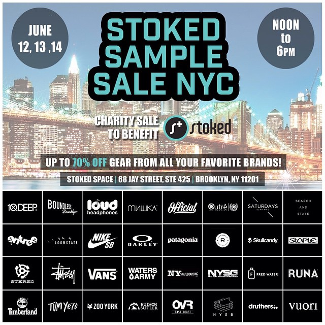 Our #stokedsamplesale ends at 6pm! Come by to support @stokedorg and get cool stuff at great prices! #samplesale #dumbo #dogood #shopforacause #benefit #charity #sales #samplesale #nycsamplesale #nyc #surf #snow #skate #shop #shoes #hats #clothes...