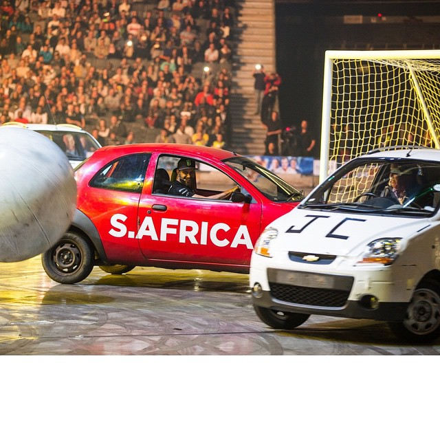 "This is one of the most fun things I've ever done in a car… it's in the top 10 at least. ""Car soccer"" at @ClarkHamMayLive. Six fiercely underpowered compact cars, two goals, one ball, and a LOT of contact. The three UK guys may have had more..."