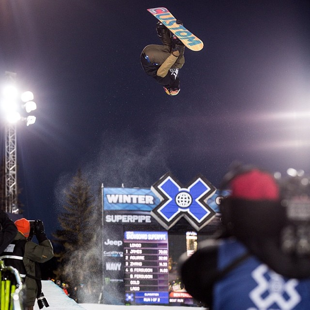 Men's Snowboard SuperPipe coming up next to close out #xgames Aspen! (Photo @petermorning )
