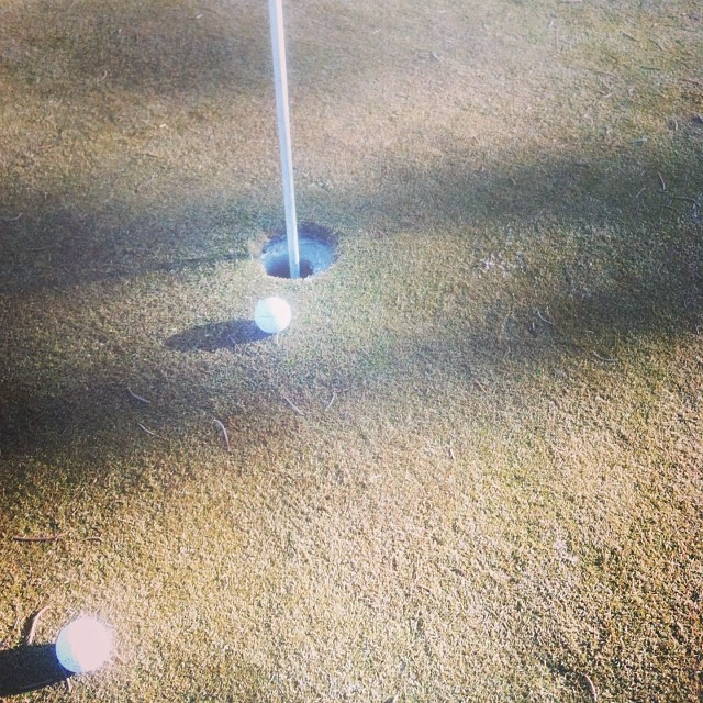 #Golfing in #January. #Sunny and relatively warm but the pin is frozen in the hole. #Snow is coming again!