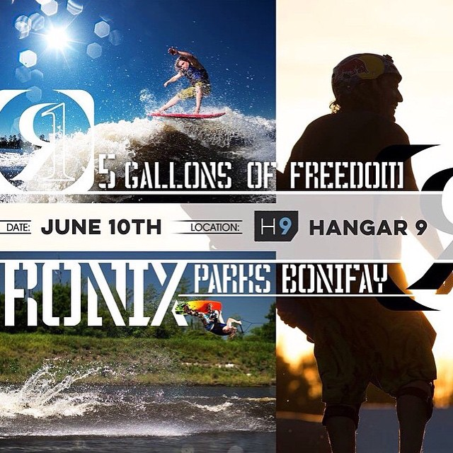 @hangar9wakepark will be hosting 480 volts of freedom June 10th. Hang with @parxxx @_toddwatson and @justin_teich. Come out and get your shred on! @m2_sports @timp024 @system2parks #ronix2015 #480voltsoffreedom #5gallonsoffreedom #ronixlove...