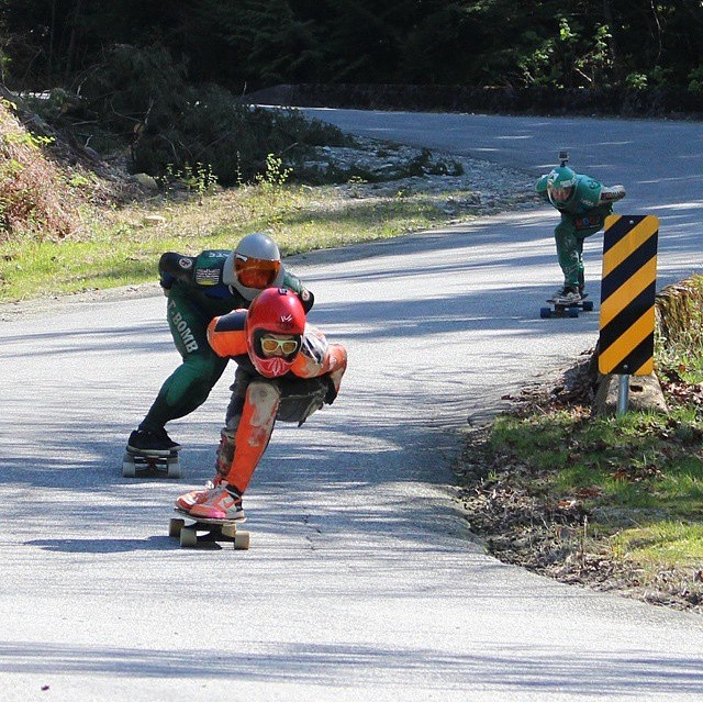 #flow rider @dcarlsonskate leading the pack on his way to first place at last weekends #lowermainlandoutlawseries race in #britishcolumbia  #regram @yardwaste #viciousgriptape #viciousgrip #vicious #griptape #dannycarlson #vancouver #raynelongboards...
