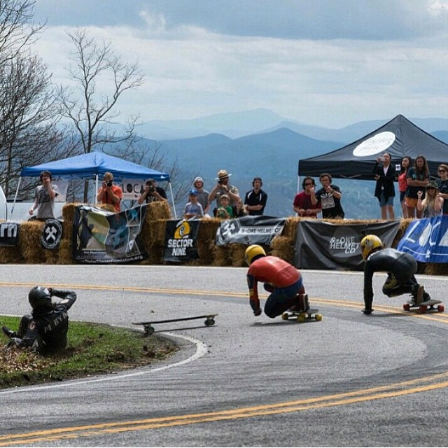 #Regram from @raynelongboards of @leecation holding his line and avoiding a crash at the @northcarolinadownhill using some fresh #viciousblack we hooked him up with recently.