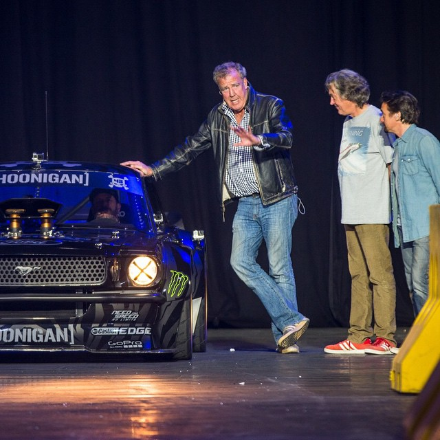 Three of my favorite presenters with my current favorite car. Yep, @ClarkHamMayLive was a damn good time! Always fun working with these three - even whilst they are beating me at Gymkhana with shady tactics! #professionalgoofballs #Hoonicorn...