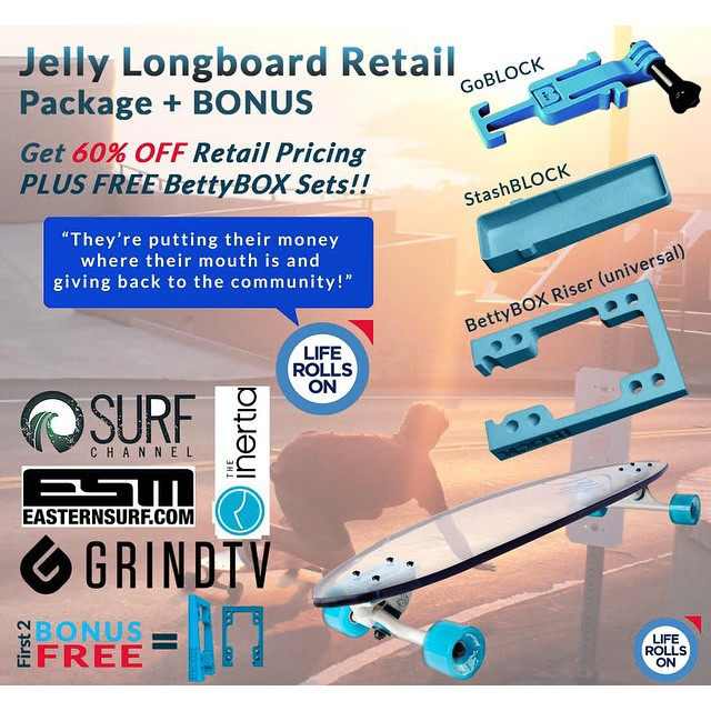 We just added some killer shop perks to our #indiegogo campaign! Get 60% off retail pricing and free BettyBOX sets by contributing today! #jellyskateboards #blockrisers #jellymanowar #sandiego