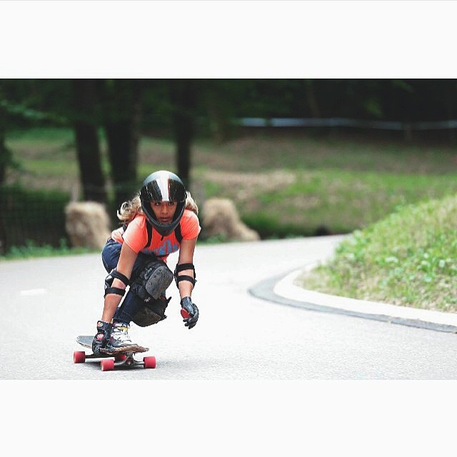 @lgcfrance ambassador @tahina_m this past weekend during the Marchaux Freeride in France. Daniel Perret-Gentil photo.  #longboardgirlscrew #womensupportingwomen #lgcfrance #skatelikeagirl #girlswhoshred #france #marchaux