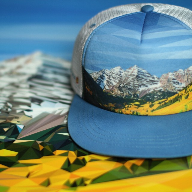 Maroon Bells Hat & Poster Giveaway! Like and tag three friends to enter. This is the white & blue version of our new Maroon Bells Polyrado Trucker... available for $20 if you pre-order now ($30 retail). It's great to see our artwork across different...