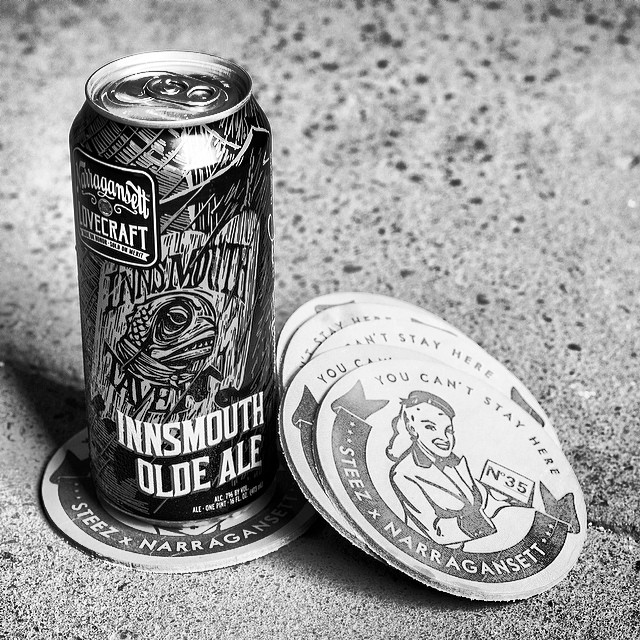 Just got the new @gansettbeer Lovecraft beer in at the office and it's awesome! Looks good with our 35th limited edition leather coasters too. #lovecraft #narragansett #innsmouth #oldeale #beer #leather #coaster #steezmagazine #35th #limitededition