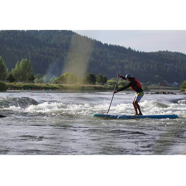 @fernandostalla getting some practice in one the flowing waters of Cascade, Idaho. #roguesup #prv15 #payetterivergames