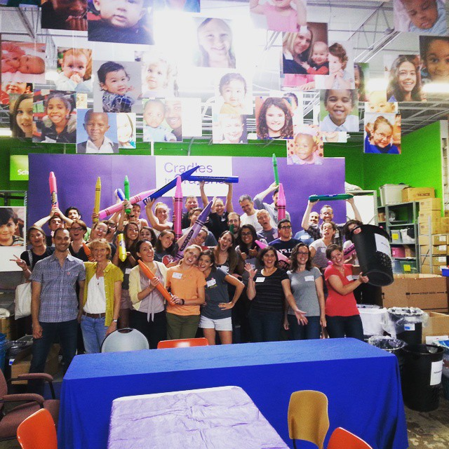 Philly #BCorps and B Lab employees sorted and packed toys, clothes, and school supplies for local kids at Cradle to Crayons for this year's #BofService! #PHLBCorpsC2C #BtheChange