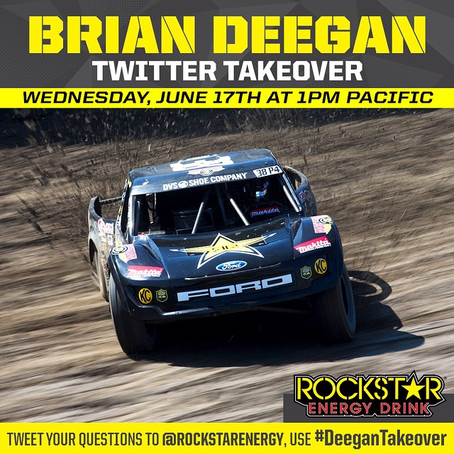 Tune in to @rockstarenergy Twitter at 1pm pacific time! I will be taking over their account and answering all your @lucasoiloffroad questions! Use hashtag #deegantakeover