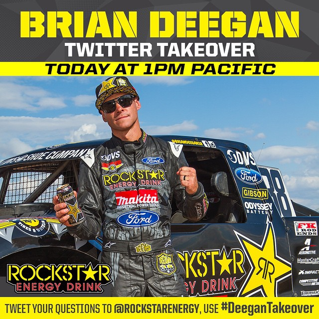 15 min til I go live on twitter taking over @rockstarenergy account! Tweet me your @lucasoiloffroad questions using hashtag #deegantakeover