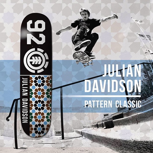 "@_julian_davidson's latest board, the ""Pattern Classic"" is out now >>> head to your local skateshop or ElementBrand.com and pick one up today >>> Link in Bio #JulianDavidson"
