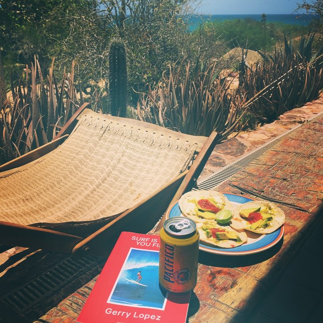 Post sustainable surfing session on the East Cape of Cabo is full of though decisions... Eat, read, drink then surf; or drink, read, eat, surf