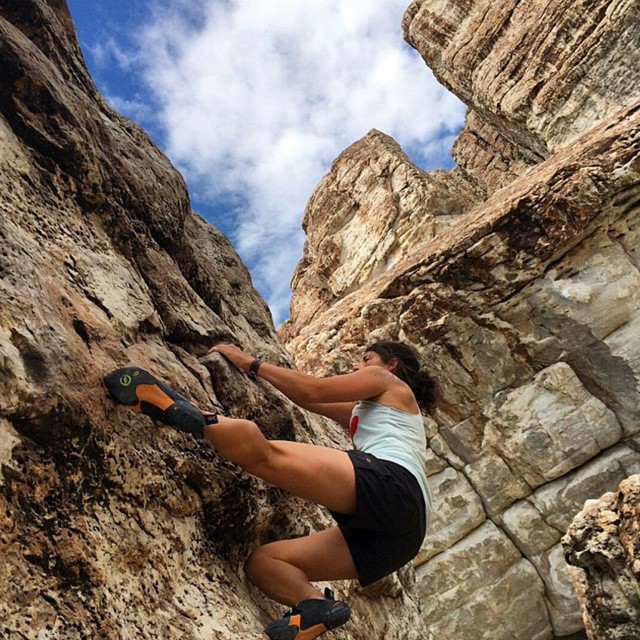 "#Regram from @t_nardi. Thanks for the inspiration. Yeah, girl. ""I love climbing. It's always been very humbling. Being ok with failing, flailing, and falling has taught me to slow down, breath, and truly problem solve. It's just me and the rock...."