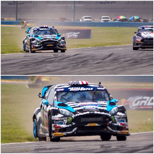 #TBT to #GlobalRallycross Daytona last year, where I finished one of my heats on three tires, whilst holding off Joni Wiman for 2 laps. This shot is from the breaking zone of the fastest and longest straightaway on the track. It was a fun challenge...