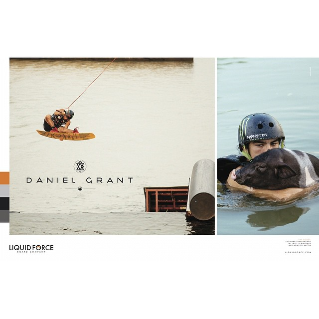 New @danielgranttt Ad featuring the #TAO & his buddy Bacon... The TAO is a game changer for the park enthusiast, learn more @ LiquidForce.com/Wakeboards-Tao