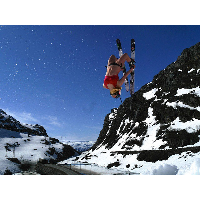 "This is how Norwegians celebrate summer. ""Bikini flipping"" on HOJI W. #shapingskiing"