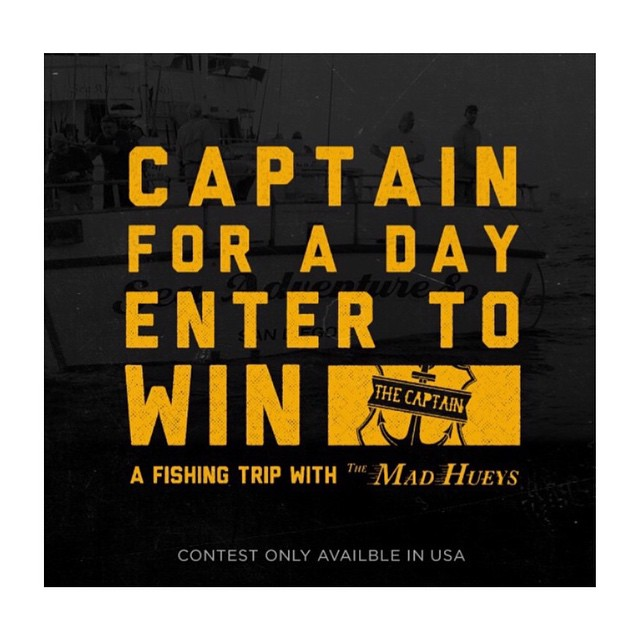 FISH WITH THE MAD HUEYS!! Enter to win a 3/4 day charter with The Mad Hueys on the sea adventure 80 for you and a friend. Charter is scheduled for July 6th,2015. Enter at US.THEMADHUEYS.COM #ahoyfuckers #themadhueys  #imthecaptainnow #eatwhatyoucatch
