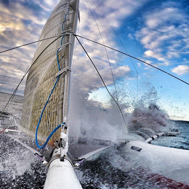 """GoPro Featured Photographer - @waterlust  About the shot: Race to Alaska.  Friends Tripp and Chris Burd decided to sail the 750 mile, """"anything goes"""" Race to Alaska in a beach catamaran!  It took them 10 days and despite freezing temperatures and gale..."""