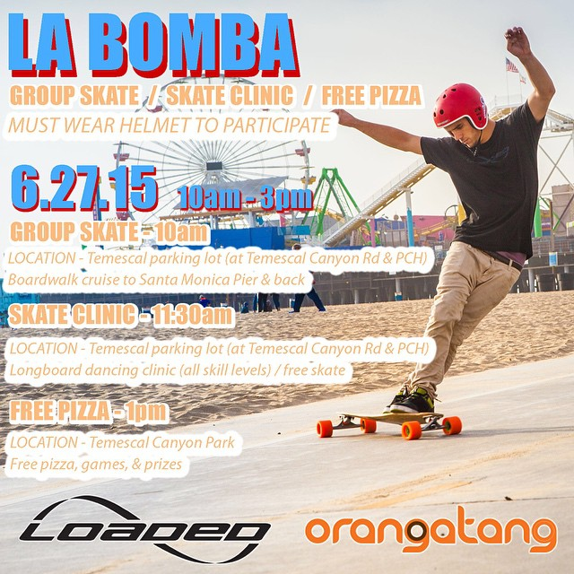 #LABomba2015 is only a week away... Be sure to join us for a day of summer skating under the sun at the #SantaMonicaBeach #boardwalk!  Learn more here and let us know you're coming (link also in profile)! http://bit.ly/labomba2015  #loadedboards...