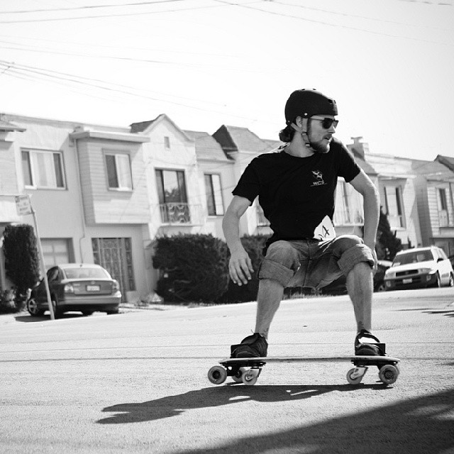 D-town doing his thing on the Q in #SF #Freebord #snowboardthestreets