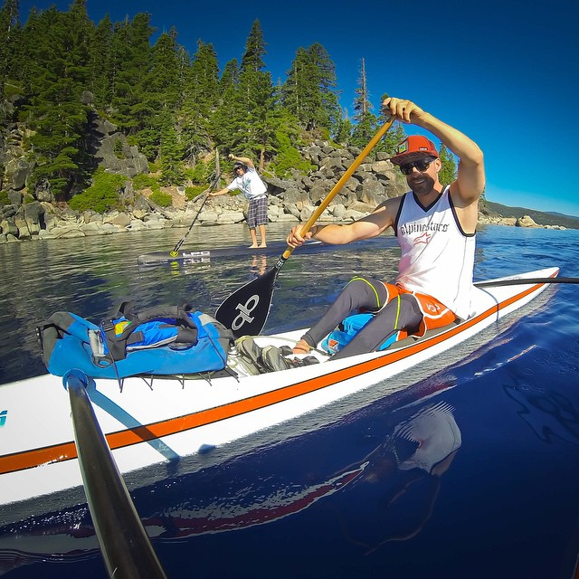 En route to #EmraldBay with brilliant shades of BLUE all round us - #Tahoe always inspires the body and feeds the soul... This morning was filled with ~14.2 miles of smiles, good times laughter, and a quality amount of #OC1 training with #SUP...