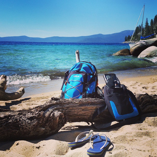 Friday afternoon at Skunk Harbor.  Soaking up the rays excited for the weekend.  Always take our Cascade! #eastshore #beach #tahoelife #laketahoe #backpacks #coolers #graniterocx