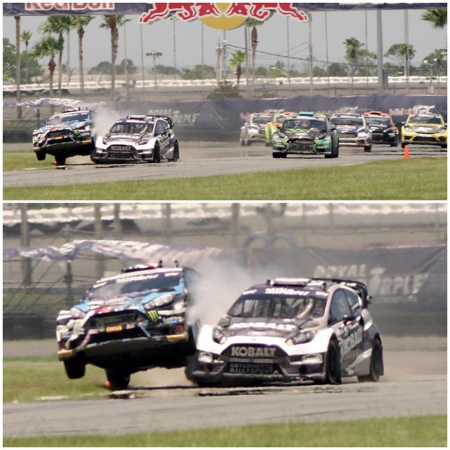 Today was so promising at #GlobalRallycross Daytona... and then I got knocked into the grass thanks to some wheel-to-wheel contact from a racing incident as I was passing into the lead. My front end popped into this wild wheelie, spun, and then went...