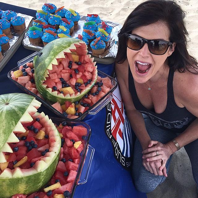 SF Surfriders Chapter Secretary @sarahgherini's International Surfing Day's rad Food Art. #stokedsfsurfridervolunteers #sfsurfrider #surfrider #ISD15 #ISD2015 #internationalsurfingday